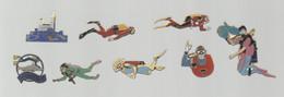 PINS PIN'S PLONGEE 935 EGF FAVEL POMPIER CSM MARSEILLE NOTRE DAME GARDE AQUARIUM APNEE  LOT 8 PINS - Immersione