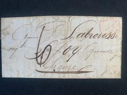 Vieux Pli De Valparaiso 1840 Cachet Rouge St Martin De Ré Outre-mer 4 Nov 40 Et Taxe 6 Au Dos Cachets Rochelle Bdx - Seals Of Generality