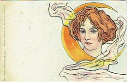 Illustrateur. Femme Art Nouveau Et Croissant De Lune. - 1900-1949