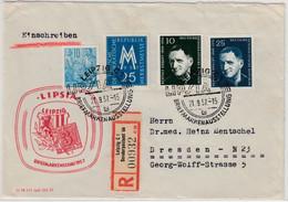 DDR - Leipzig Lipsia 1957, SST+So.-R-Zettel A. Einschreibebrief N. Dresden - Unclassified