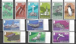 SOUTH GEORGIA, 2020, MNH, DEFINITIVES, BIRDS, PENGUINS, FISH, WHALES, SEALS, INSECTS, SHIPS, CHURCHES, FLORA, 12v - Pinguine