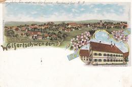 WOLFERTSCHWENDEN - BAYERN - DEUTSCHLAND - LITHOGRAPHIE ANSICHTKARTE - 1915....GEPRÜFT GEFANGENENLAGER DILLINGEN... - Autres