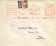 """Ø 13 Más Franqueo Mecánico """"Lluch Y Cía"""", En Carta Circulada En Barcelona El 6/3/37. - Barcelona"""