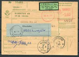 1971 Sweden Solna Franking Machine, Adresskort Postage Due, Taxe Losen - Kungalv - Briefe U. Dokumente