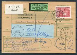 1969 Sweden Adresskort Malmo - Askim Postage Due, Taxe Losen Slania - Briefe U. Dokumente
