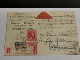 Entier Postaux, Oblitéré Wormeldange 1928, Niederdonven Recommandé Et Remboursement - Postwaardestukken
