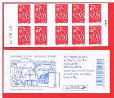 FRANCE - 2005 - CARNET N° 3744-C6 -NEUF** NON PLIE AVEC DATE - Marianne De LAMOUCHE - TVP - Y&T - COTE : 25,00 Euro - Freimarke