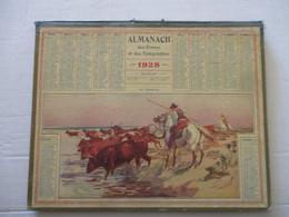 CALENDRIER ALMANACH DES POSTES ET TÉLÉGRAPHES 1928 EN CAMARGUE GARDIANS - 26 X 21 CM ASSEZ BON ETAT - Big : 1921-40