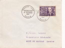 BAUDELAIRE / N°908 YVERT ET TELLIER/ 27.10.1951 / PARIS - 1950-1959