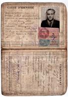 """CARTE D'IDENTITE. NANCY (54) TIMBRES FISCAUX. DEVANT DE LA CARTE 2 TIMBRES """" IMPOTS Sur Les VELOCIPEDES """" 1943.1944. - Non Classés"""