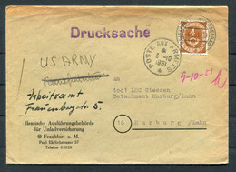 1951 Germany Frankfurt Cover - LSC Giessen, Detachment Marburg/Lahn, Poste Aux Armees, US Army, French Army Arbeitsamt - Lettres & Documents