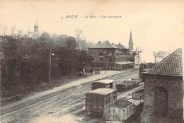 59 NORD Vue Intérieure De La Gare D'ANZIN Wagons Et Locomotive - Anzin