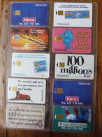 10 Télécartes (jeux à Gratter) FRANCE TELECOM  -> 100 Millions, Morpion, Keno, Banco, Loto Sportif, TacOtac, Super Loto - Giochi