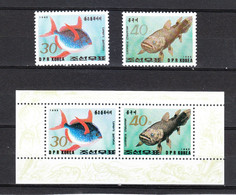 Korea Nord  - 1993.Pesce Palla E Celacanto, Pesce Creduto Estinto.Puffer And Coelacanth, Fish Believed To Be Extinct MNH - Pesci