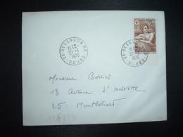 LETTRE TP YT 1619 CROIX-ROUGE NICOLAS MIGNARD 0,40+0,15 OBL.27-1 1970 25 BESANCON RP DOUBS - 1961-....