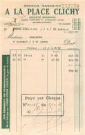 A LA PLACE CLICHY GRANDS MAGASINS FACTURE 04/1936 - 1900 – 1949