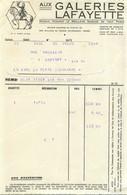 AUX GALERIES LAFAYETTE FACTURE 1929 - 1900 – 1949
