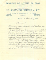 P. DEVOUEIZE ET CIE FABRIQUE DE LITERIE EN GROS RUE DE CHARENTON PARIS 12/1932 - 1900 – 1949