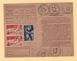 Carte D Abonnement Aux Emissions De Timbres Poste - 1949 - Noyelles Sous Lens - Pas De Calais - 1921-1960: Modern Period