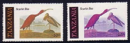 Tanzania 1986 Audubon Bird - Scarlet Ibis - Normal + Stamp Missing Yellow Colour - Cranes And Other Gruiformes