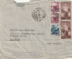 Italy Cover South Africa 1950 (1945) - Torch Planting Tree Italia Sprouting Oak Stump - Marcofilía