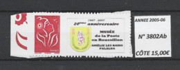ANNEE 2005-06 . SPLENDIDE LOT TIMBRE  DE LUXE AUTOADHESIF, Neuf (**) N° 3802Ab  Gomme D'origine. Côte 15.00 €. - Unused Stamps