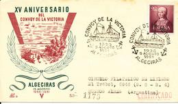 Spain Registered Cover Convoy De La Victoria Algeciras 5-8-1951 With Nice Cachet Sent To Argentina - 1951-60 Cartas