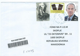 Kosovo Registered Letter Via Macedonia 2021.stamps - 2019 The 20th Ann. Of Freedom - Personalitie,Tony Blair - Kosovo