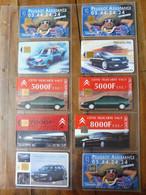 10 Télécartes (lié à L'automobile) FRANCE TELECOM  ->  Peugeot - Assistance, DAEWOO NUBIRA, Citroën, LAGUNA, MATRA, Etc - Voitures