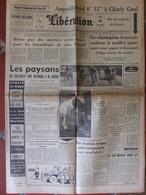 Journal Libération (26 Juin 1961) Tour De France - Paysans - Scandale Du Bac - Sahara/Maghrébins - 1950 - Heute