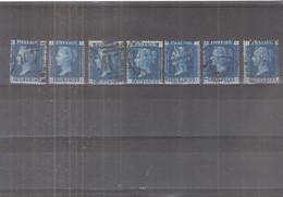 GB -  7x Yv.27 - Planche 14 - Beau Matériel Pour Reconstitution De Feuille - (à Voir) - Used Stamps