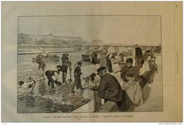 Paris - Le Petit Bain Des Chiens Au Quai Du Louvre - Page Original 1894 - Documentos Históricos