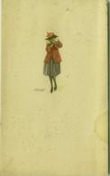 MAUZAN SIGNED 1920s POSTCARD - WOMAN WITH RED DRESS - N.196 (BG1512) - Mauzan, L.A.
