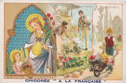 Chromo Publicitaire (7 X 11,5 Cm) - Sainte-Dorothée - Patronne Des Jardiniers / Fleuristes - Devotieprenten