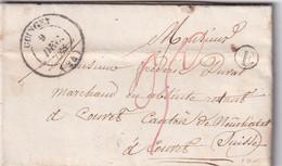 FRANCE 1852 LETTRE DE COINGEY AVEC CORRESPONDANCE - 1801-1848: Precursori XIX