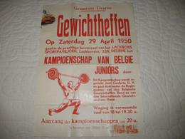 DEURNE - Gewichtheffen/ Altérophilie - Kampionschap Van Belgie Juniors / Championnat  1950 Sport  (B289) - Manifesti