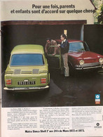Publicité Papier VOITURE SIMCA 1000 RALLYE 1973    PILB P1052384 - Werbung