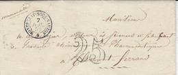 1852- Lettre De MONTREZAT-sous-BAUZON ( Ardèche ) Cad T15  TAXE 25 Dt - 1849-1876: Classic Period
