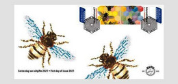 Netherlands 2021 FDC Europa 2021  Endangered Bees Insects Insect Bee Abeilles Abeille - Cranes And Other Gruiformes