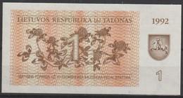 1992 - LITAUEN - Banknote 1 Talonas - Lituanie