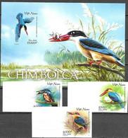 VIETNAM , 2020, MNH, BIRDS, KINGFISHERS, 3v+S/SHEET, IMPERFORATE - Sonstige