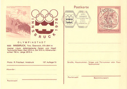 Austria Postal Stationary 1976 Innsbruck Olympic Games - Innsbruck Posted Axams (G134-43) - Hiver 1976: Innsbruck