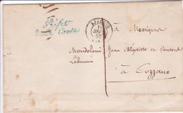 Pli Griffe Préfet De La Corse Ajaccio  1857 Contreseing Annulé Et Taxe Après Vérification Droit à Franchise ? - 1849-1876: Période Classique