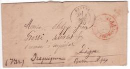 Pli BASTIA CORSE 1870 + Cachet Rouge PP Port-Payé PARIS > Digne Réexpédié Draguignan Var - 1849-1876: Période Classique