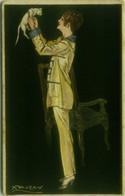 MAUZAN SIGNED 1910s  POSTCARD - WOMAN & CAT -  (BG1533) - Mauzan, L.A.