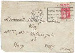 PAIX Pub RIPOLIN N°283 Metz R. Lafayette 7 Octobre 1935 Pour Besny-et-Loizy - 1921-1960: Periodo Moderno