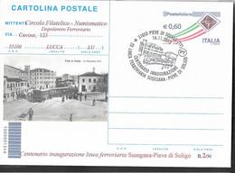 REPIQUAGE- CARTOLINA POSTALE - CENTENARIO FERROVIA SUSEGANA PIEVE DI SOLIGO- 2013 - ANNULLO SPECIALE PIEVE DI SOLIGO - Stamped Stationery