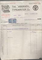 Genova  (Italie) Facture THE VISIGRAPH TYPEWRITER (machines à écrire) 1917 Avec Timbres Fiscaux (PPP30426) - Italia