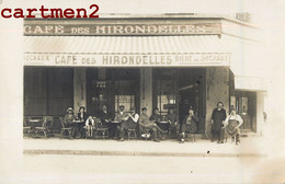"""CARTE PHOTO : CHARENTON ? DEVANTURE """" CAFE DES HIRONDELLES """" BIERE DE SOCHAUX RUE DES BORDEAUX 94 COMMERCE MILITAIRES - Caffé"""