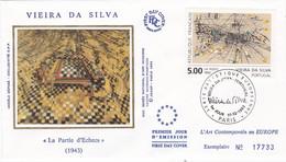 France FDC Premier Jour Soie Tableau Peinture Painting Art 1993 2835 Vieira Da Silva - 1990-1999